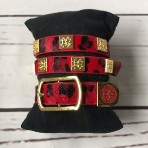 Rustic Cuff 2 piece leopard print red and gold set